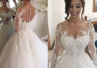 discount illusion jewel long sleeves wedding dress with beading appliques chapel train puffy skirt arabic church bridal gowns dresses 2020 plus size Dhgates Wedding Dresses