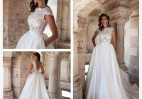 discount milla nova lace a line wedding dresses cap sleeves satin illusion appliques backless country wedding dresses bridal gowns court train lace Modified A Line Wedding Dresses