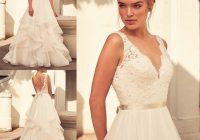 discount paloma blanca spring 2021 cheap wedding dresses v neck lace applique a line bridal gowns simple sleeveless sweep train wedding dress wedding Paloma Blanca Wedding Dresses