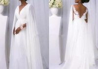 discount sexy african 2021 white chiffon cape sleeve beach country wedding dresses cheap backless v neck greek goddess beach bridal gowns custom made Greek Goddess Wedding Dresses