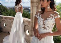 discount sexy bridal summer dresses 2020 illusion bodice beach wedding dress cap sleeve country wedding dresses lace appliques buttons back split Dhgates Wedding Dresses