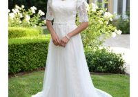 discount slimming a line tulle modest wedding dresses with sheer illusion half sleeves inner cap sleeves lds bridal gowns with beaded belt custom Lds Wedding Dress