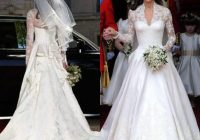 discount stunning kate middleton wedding dresses royal modest bridal gowns lace long sleeves ruffles cathedral train custom made high quality brides Kate Middleton Wedding Dress Pretty