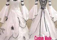 discount vintage black and white gothic wedding dress 2021 scoop off the shoulder celtic bridal gowns zipper up corset handmade flowers sweep train Black And White Gothic Wedding Dresses