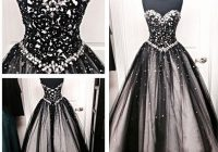discount vintage black and white gothic wedding dresses a line crystals sweetheart neck long floor length bridal gowns corset back top quality line Black And White Gothic Wedding Dresses