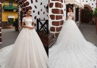 discount white a line wedding dresses glamorous lace appliques chapel train romantic princess short sleeves wedding bride gown robe de mariage Modified A Line Wedding Dresses