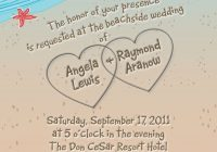 diy beach wedding invitation with hearts in sand seagulls Beach Wedding Invite Wording