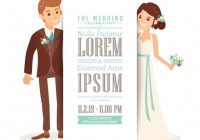 download this free vector wedding invitation with a cute Wedding Invitation With Pictures Of Bride And Groom