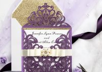 eggplant purple laser cut wedding invitation cards with gold glittery liners pwil055 pro wedding invites Wedding Invitations Photo Cards