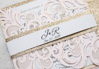 elegant blush pink laser cut wedding invitation with rose gold glitter belly band pwil061 pro wedding invites Wedding Invitations Photos
