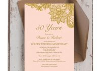 Elegant gold lace inspired 50th golden wedding anniversary Golden Wedding Anniversary Invitation