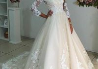 Elegant sheer neck long sleeves ivory wedding dress with lace Perfect Lace Dress With Sleeves Wedding Ideas