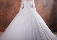 fairy tale ball gown illusion neckline long sleeve puffy tulle ssparkly wedding dress Fairy Tail Wedding Dresses