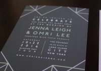 geometric typography wedding invitation stacked with vellum band gray purple and mint accents fully customizable in over 80 colors Typography Wedding Invitations