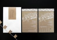 giada davides kraft paper and lace wedding invitations Paper Lace Wedding Invitations