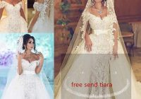gorgeous 2019 overskirts wedding dresses with detachable train pearls mermaid bridal gown lace dubai wedding dresses custom made affordable wedding Dhgate Wedding Dress