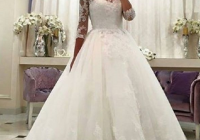 gorgeous ball gown wedding dresses puffy lace beaded applique white long sleeve wedding gowns Poofy Wedding Dresses