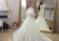 h1060 sexy plunging neck low back lace mermaid wedding dress Mermaid Wedding Dresses Under 500