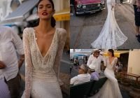 inbal dror 2020 lucury wedding dress v neck sequined lace mermaid bridal gowns long sleeves backless beach wedding dress custom mermaid dress wedding Inbal Dror Wedding Dress s