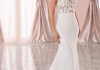 lace and chiffon beach wedding dress with illusion bodice Wedding Dresses Jacksonville Fl