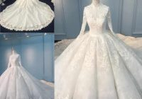 latest design alibaba muslim wedding dresses vintage high neck lace appliques ball gown wedding gowns with covered button red carpet dresses sexy Alibaba Wedding Dresses
