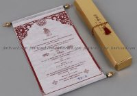 light pink wooly paper scroll type wedding card Wedding Invitations Bangalore