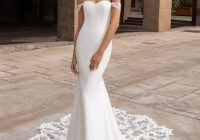 mermaid wedding dress in crepe with off the shoulder sleeves Pronovias Wedding Dress s