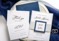 navy blue and silver wedding invitations belly band and tag traditional formal weddings thank you cards rsvps fall winter spring affordable Affordable Wedding Invitation