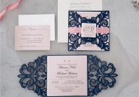 navy blue symmetrical lace laser cut wedding invitations with blush pink ribbon and tags swws109 stylishwedd Pink And Blue Wedding Invitations