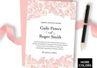 peach damask wedding invitation printable wedding invitation set luxury black tie wedding personalized template coral damask wedding Cheap Damask Wedding Invitations