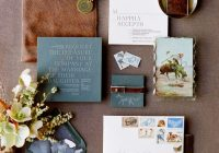 picture of a wedding invitation suite with slate blue and Brown And Blue Wedding Invitations