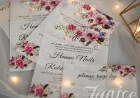 pink and purple floral uv printing wedding invitations Online Printing Wedding Invitations