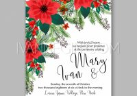 poinsettia wedding invitation sample card beautiful winter floral ornament christmas party wreath Christmas Wedding Invitation Wording