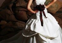 pretty layered wedding dress with chocolate brown flower Wedding Dresses In Burlington Nc