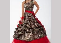 red one shoulder camo wedding dresses 2020 realtree with Camo Sash For Wedding Dress