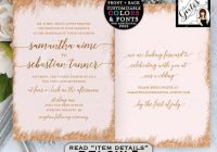 rose gold printable wedding invitation double sided 5×7 digital file only gvites Two Sided Wedding Invitations