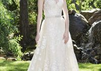 rosette lace bridal dress see through low back plus removable beaded belt lace overskirt Casablanca Lace Wedding Dress