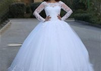 said mhamad white wedding dresses puffy 2020 elegant lace long sleeve applique princess ball gowns vetidos de novia bridal gowns Wedding Dresses Poofy