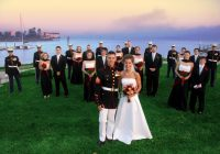 saluting military wedding traditions Marine Dress Blues Wedding