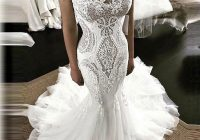 sexy lace mermaid wedding dresses with tail lace up romantic bridal gown vestido de noiva custom made long gowns bridal Mermaid Tail Wedding Dresses