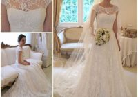 shedress capped sleeves sweep train a line lace wedding dress cheap wedding gown from shedress Capped Sleeve Lace Wedding Dress