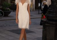short wedding dress with v neck and beading pronovias Pronovias Short Wedding Dress