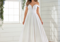 simple satin off the shoulder ballgown Essence Of Australia Wedding Dresses
