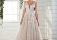 sleeveless v neck floral lace embroidered a line wedding dress Essense Wedding Dresses