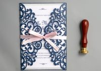 spring laser cut wedding invitations with ribbon navy blue and pink wedding colors diy wedding invitations free envelopes ws022 Dyi Wedding Invites