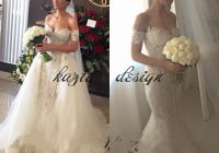 steven khalil off the shoulder mermaid wedding dresses with detachable train appliques lace chapel bridal gowns arabic wedding gowns Steven Khalil Wedding Dresses s