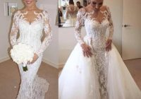 steven khalil wedding dresses with detachable skirt 2021 luxury detail beaded pearls long sleeve mermaid dubai arabic bridal wedding gowns cheap Steven Khalil Wedding Dresses