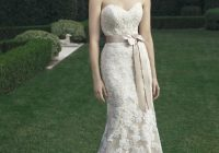 strapless lace sheath silhouette gown with detachable satin ribbon sash bridal gown Casablanca Lace Wedding Dress