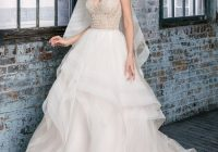 style 99017 beaded v neck bodice with layered horsehair Justin Alexander Wedding Dress s