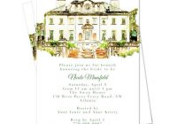Stylish watercolor swan house atlanta invitation digital or print Atlanta Wedding Invitations
